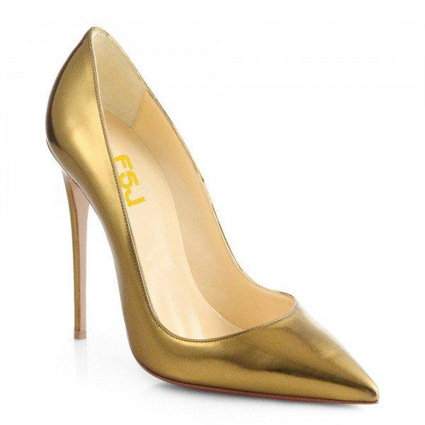 Golden Stiletto Heels Mirror Leather Pumps - Plus Size Heels | Size 11 Heels | Size 12 Heels