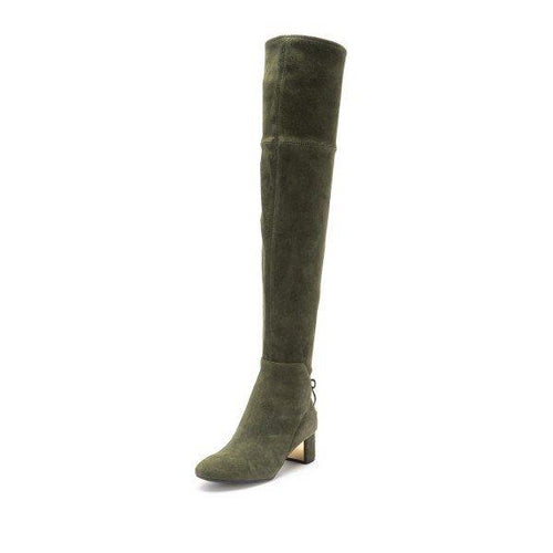 58080f638ccc Green Suede Chunky Heel Boots Over the Knee Boots - Plus Size Heels