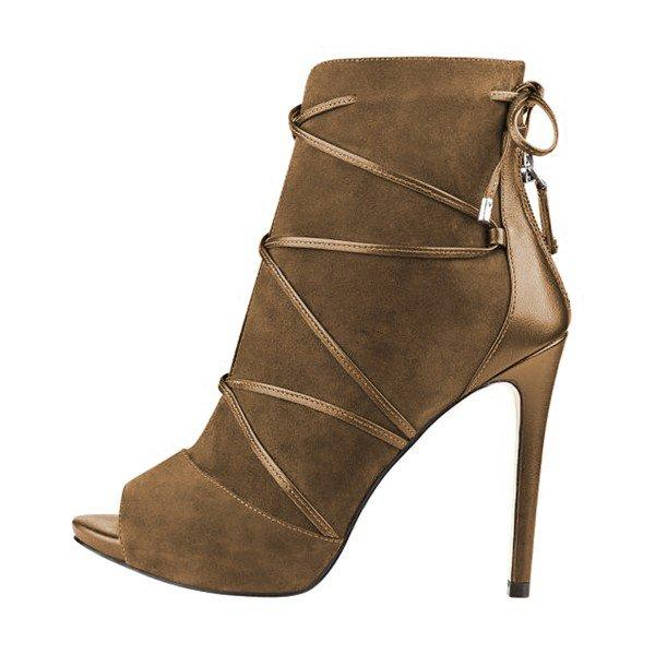 Brown Stiletto Boots Peep Toe Strappy Suede Ankle Booties - Plus Size Heels | Size 11 Heels | Size 12 Heels