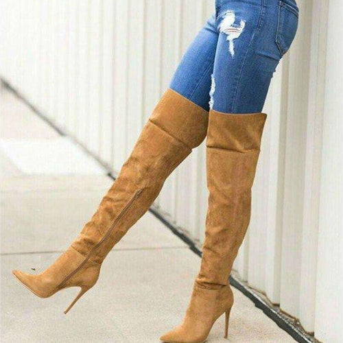 Model wearing Tan Wide Calf Thigh High Stiletto Boots with Pointy Toe