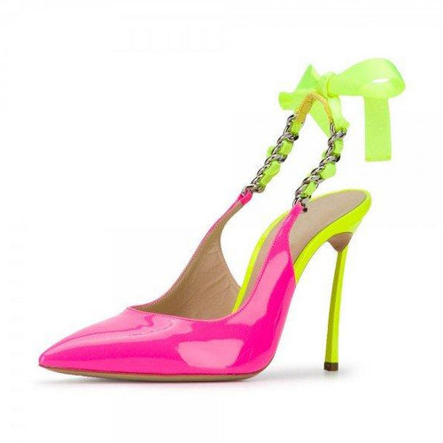 Pink and Neon Yellow Patent Leather Stiletto Heel Slingback Pumps - Plus Size Heels | Size 16 Heels