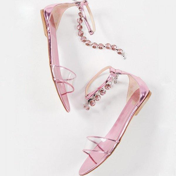 Pink Patent Leather Clear PVC Rhinestones Ankle Strap Flat Sandals - Plus Size Heels | Size 15 Heels