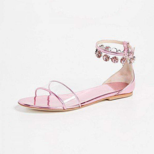 Pink Patent Leather Clear PVC Rhinestones Ankle Strap Flat Sandals - Plus Size Heels | Size 16 Heels