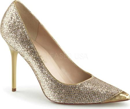 Glittery Gold Classic Pumps - Plus Size Heels | Size 11 Heels | Size 12 Heels