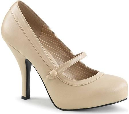 Cream Mary Jane Pinup Pump - Plus Size Heels | Size 11 Heels | Size 12 Heels
