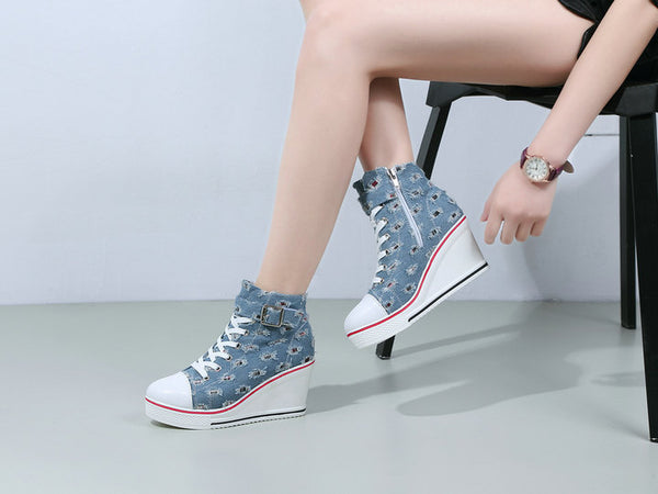 Canvas Wedge Sneakers