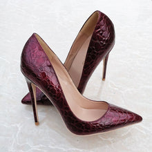 Load image into Gallery viewer, Wine Red Stone Heels
