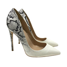 Load image into Gallery viewer, White & Black Snake Skin Heels