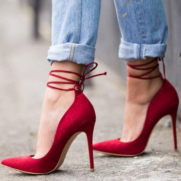 b0105978afe Red Ankle Straps - Plus Size Heels