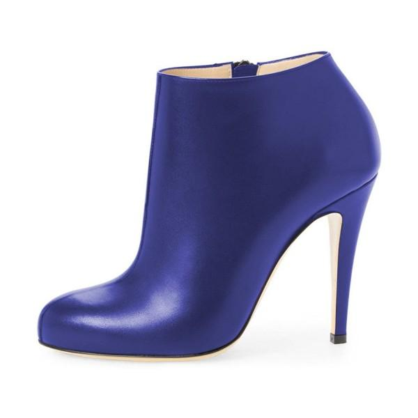 Royal Blue Fashion Boots 4 Inches Heels Casual Comfy Shoes - Plus Size Heels | Size 11 Heels | Size 12 Heels