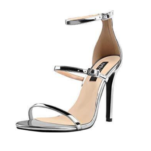 Silver Ankle Strap Stiletto Open Toe Sandals - Plus Size Heels | Size 14 Heels