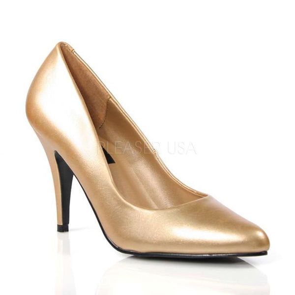 a45730621ff5 Gold Faux Leather Closed Toe Pump High Heels - Plus Size Heels