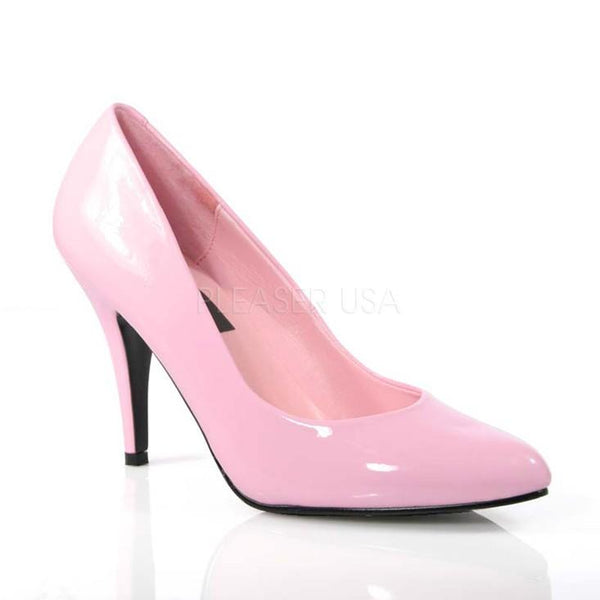 Pink Patent Faux Leather Closed Toe Pump High Heels - Plus Size Heels | Size 11 Heels | Size 12 Heels