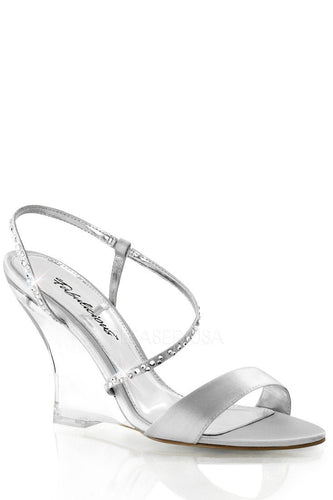 Silver Rhinestone Strappy Single Sole Wedges Satin - Plus Size Heels | Size 11 Heels | Size 12 Heels