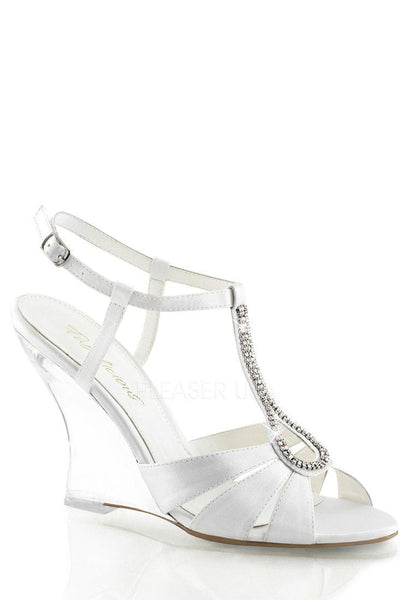 White Rhinestone Single Sole Wedges Satin - Plus Size Heels | Size 11 Heels | Size 12 Heels