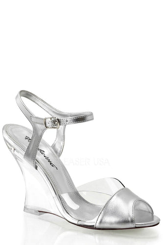 Silver Single Sole Wedges Metallic Faux Leather - Plus Size Heels | Size 11 Heels | Size 12 Heels