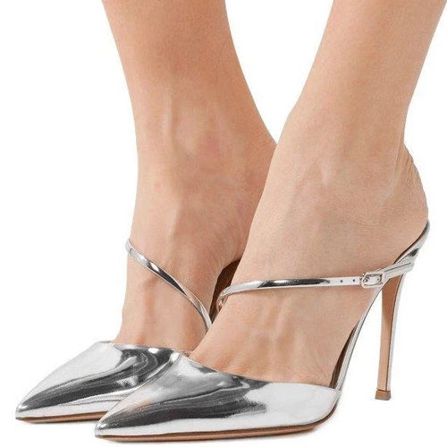 Silver Metallic Mirror Leather Pointy Toe Mule Heels - Plus Size Heels | Size 11 Heels | Size 12 Heels