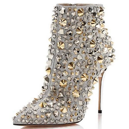 Silver Studded Glitter Stiletto Boots with 5 Inch Heels in Size 11 -15