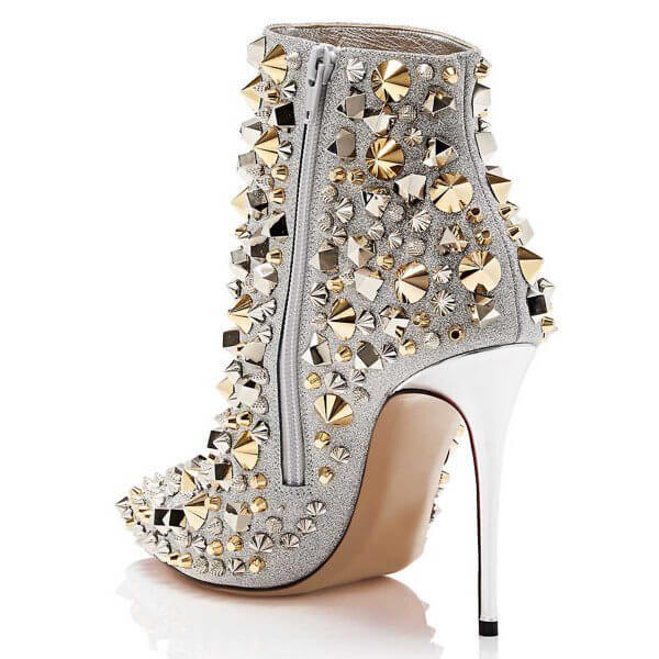 Plus Size Heels Silver Studded Glitter Stiletto Boots with 5 Inch Heels in Size 11 -15