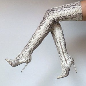 Snakeskin Boots Stiletto Heel Pointy Toe Thigh High Boots 13 - Plus Size Heels | Size 14 Heels