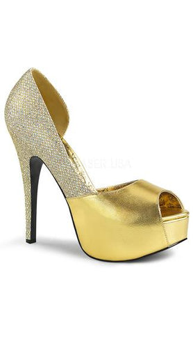 Yellow Glittering D'orsay Pump - Plus Size Heels | Size 11 Heels | Size 12 Heels