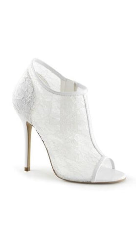 White Lace Peep Toe Bootie | Made by Pleaser USA - Plus Size Heels | Size 11 Heels | Size 12 Heels