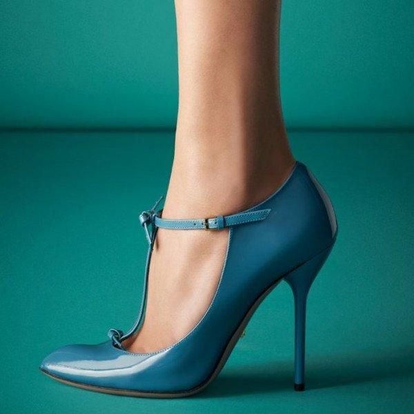 Blue T Strap Pumps Pointy Toe Patent Leather Stiletto Heels - Plus Size Heels | Size 11 Heels | Size 12 Heels