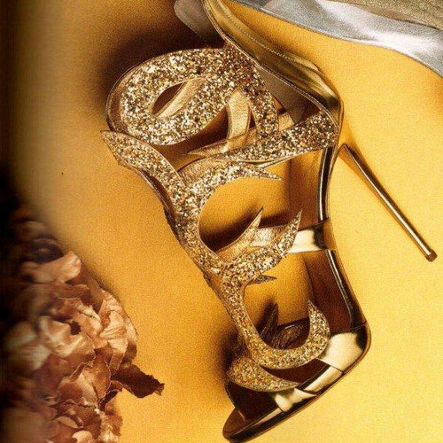 "Gold Evening Shoes: 5"" High Cage Sandal Stiletto Heels with Glitter - Plus Size Heels - Size 13"
