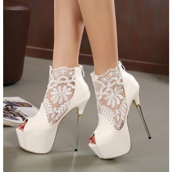 f570d36dce3f White Wedding Shoes Lace Peep Toe Stiletto Heels Platform Ankle Booties