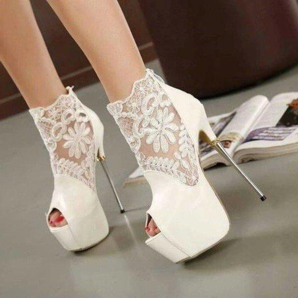 White Wedding Shoes Lace Peep Toe Stiletto Heels Platform Ankle Booties - Plus Size Heels | Size 11 Heels | Size 12 Heels