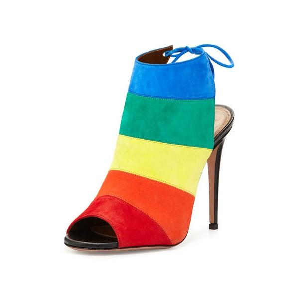 bf101b009a9c Rainbow Slingback Summer Boots Peep Toe Suede 5 Inches Stiletto Heels Ankle  Booties