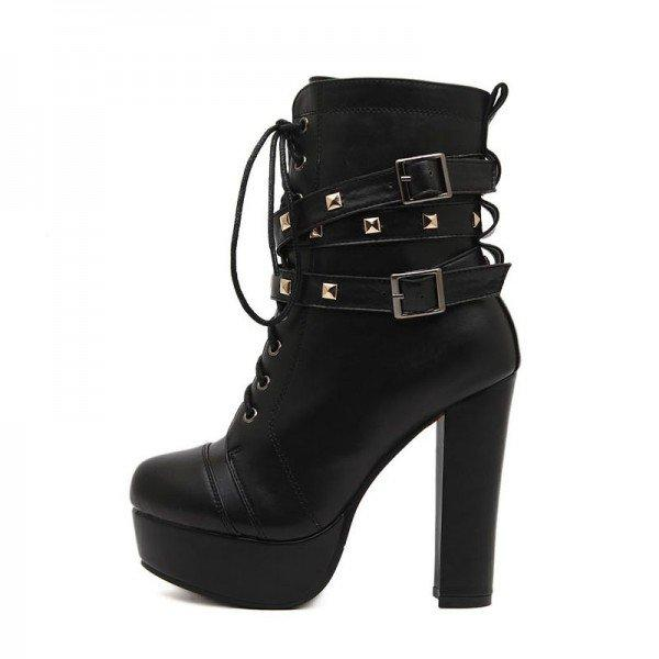 88fb5a50e99 Black Platform Heels Lace Up Chunky Heels Rivets Buckle Ankle Booties