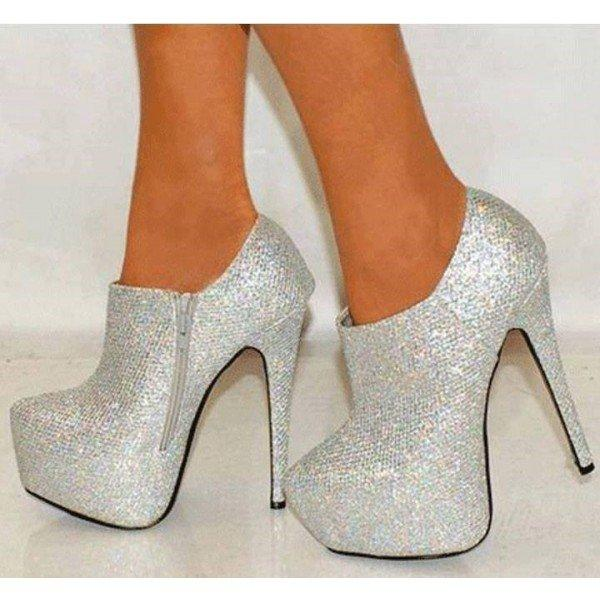 3bb56a628c9c Silver Glitter Shoes Platform Boots Sparkly Ankle Booties - Plus Size Heels
