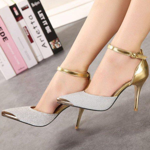 Silver and Gold Glitter Ankle Strap Stiletto Heels - Plus Size Heels - Size 13