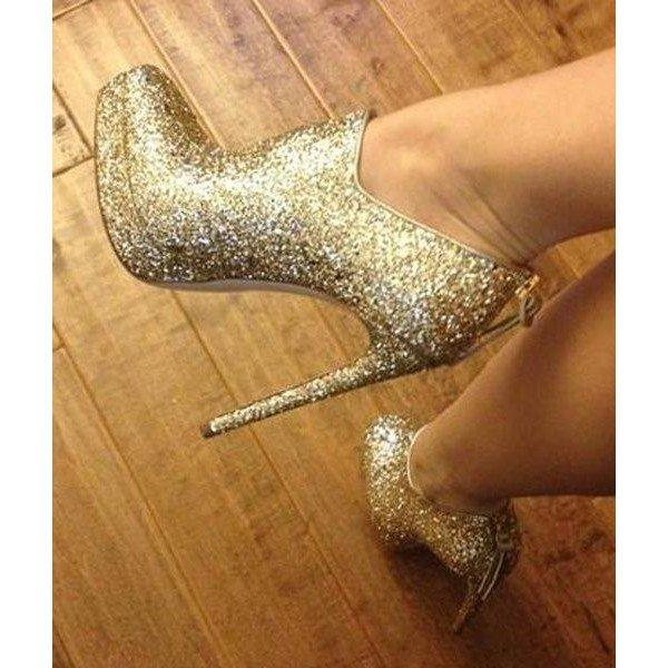Gold Stiletto Boots Glitter Platform Heeled Fashion Ankle Booties - Plus Size Heels | Size 11 Heels | Size 12 Heels
