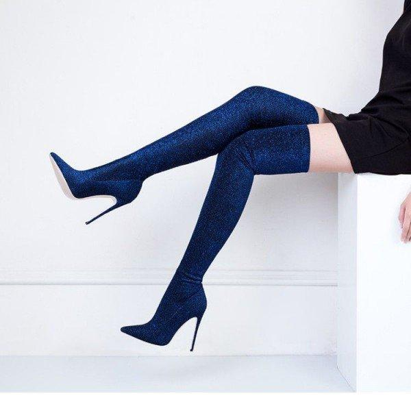 Navy Long Boots Pointy Toe Stiletto Heel Thigh-high Boots - Plus Size Heels | Size 11 Heels | Size 12 Heels