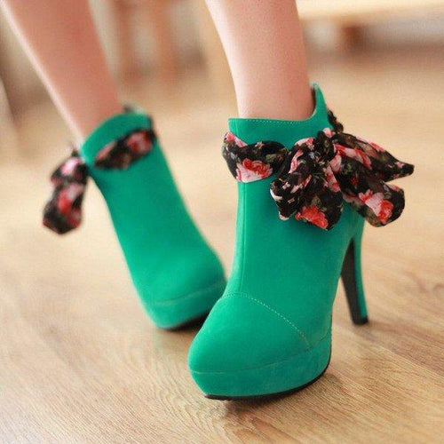 Green Platform Boots Suede Ankle Booties - Plus Size Heels | Size 11 Heels | Size 12 Heels