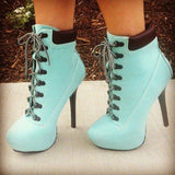 Light Blue Lace up Boots Stiletto Heel Ankle Booties with Platform - Plus Size Heels | Size 11 Heels | Size 12 Heels