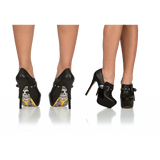 Black Fashion Boots Skull Sole Stiletto Heels Ankle Booties - Plus Size Heels | Size 11 Heels | Size 12 Heels