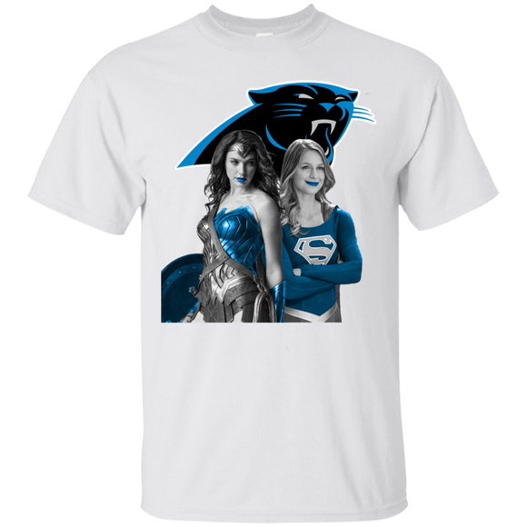 Carolina Panthers Wonder Woman back to back with super girl Hoodies Sweatshirts