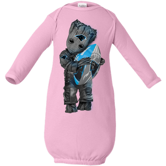 Baby Groot hugging carolina panthers Infant shirts
