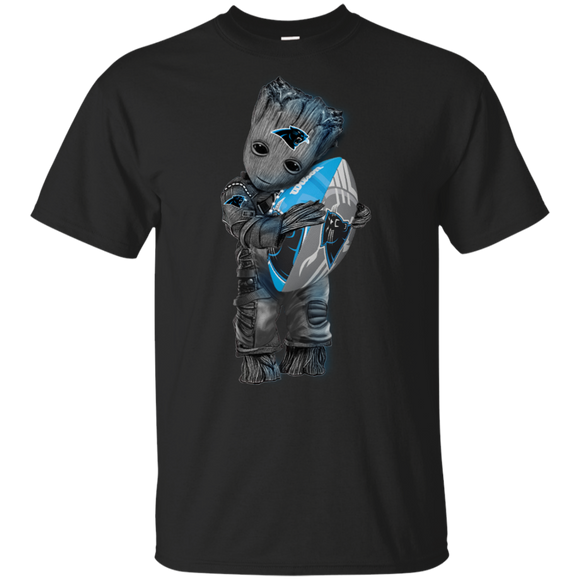 Baby Groot hugging carolina panthers hoodies sweatshirts