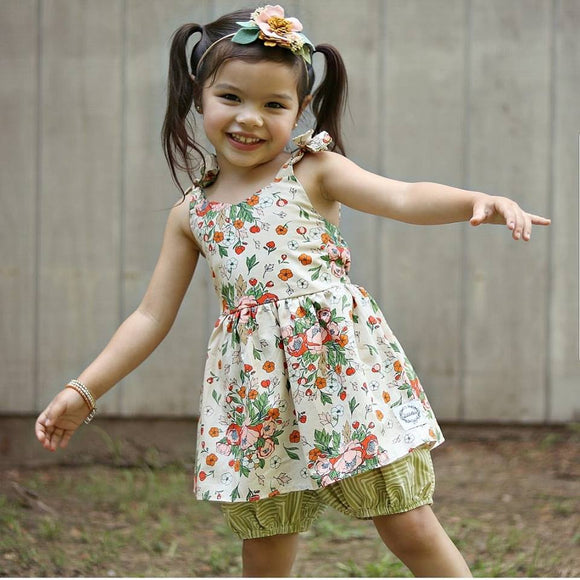 Rainy Day Skirted Romper *Tea Stained Floral*