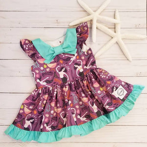 Purple Mermaid Flutter Dress