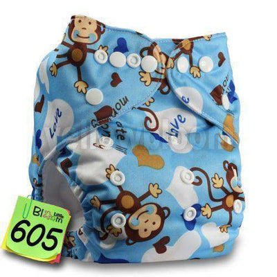 Baby Washable Reusable Real Cloth Pocket Nappy 605 / Onesize No Insert