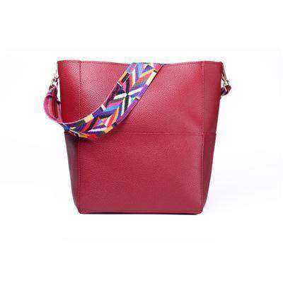 Bag Women Leather Wide Strap Shoulder Bag Handbag Burgundy