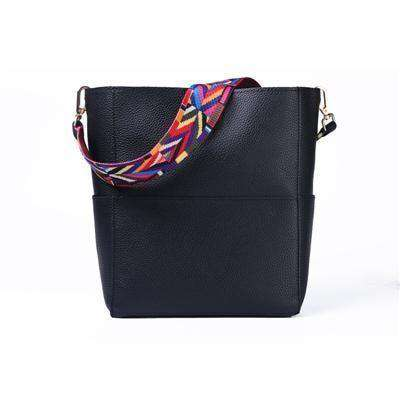 Bag Women Leather Wide Strap Shoulder Bag Handbag