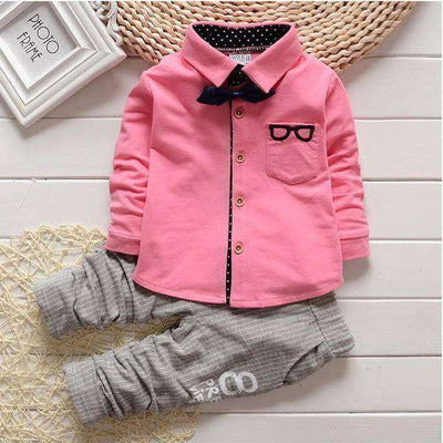 Bear Leader Suits Bow Tie T-Shirts + Pants Boys Clothes Pink / 4T