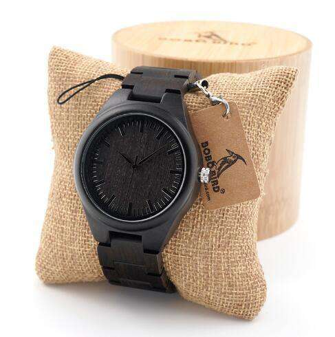 Black Ebony Wooden Watches Wood Links Causal Quartz H06