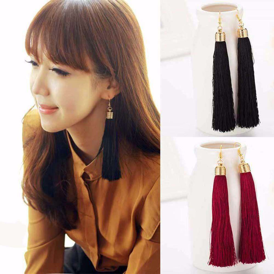Black Vintage Tassel Earrings Long Big Dangle Earrings Wine Red